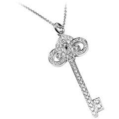 Tiffany & Co. Fleur-de-Lis Key Diamond White Gold Pendant Necklace