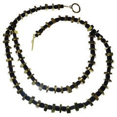 Modernist Black Onyx and Golden Pyrite Necklace