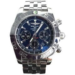 Breitling Stainless Steel Chronomat B01 Blue Dial pilot bracelet Wristwatch