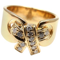 Hermes Diamond Bow Yellow Gold Band Ring