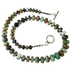 Green and Brown Graduated Rondels of Peruvian Opal Necklace with Sterling Silver