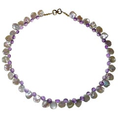 Iridescent White Round Keshi Pearl and Amethyst Briolette Necklace