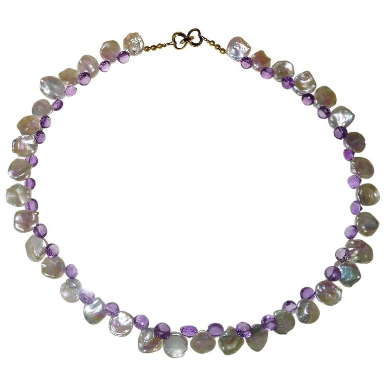 Iridescent White Keshi Pearl and Amethyst Briolette Necklace