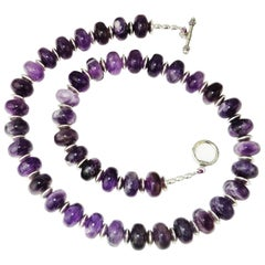 Translucent Rondels of Amethyst in Matrix Necklace