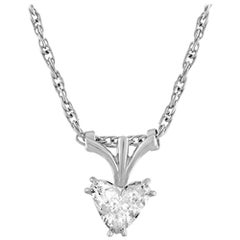 0.72 Carat Diamond Heart Gold Pendant Necklace