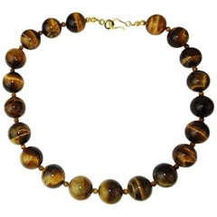 Glowing, Highly Polished Tiger's Eye Necklace with 18Kt Yellow Gold Clasp