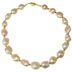 Large Peach Color Baroque Pearls with Orange Accents Necklace