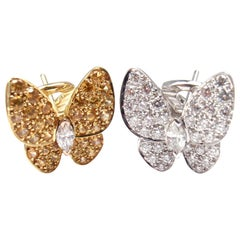 Van Cleef & Arpels Two Butterfly Diamond Yellow Sapphire Gold Earrings