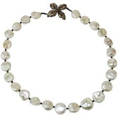 White Iridescent Freshwater Pearls with Black Spinel Accents Necklace