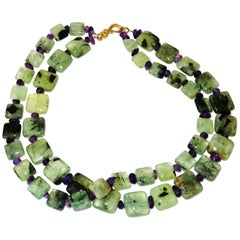 Double Strand of Brazilian Prehnite and Amethyst Necklace