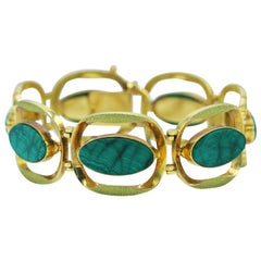 1960s Malachite and Gold Bracelet