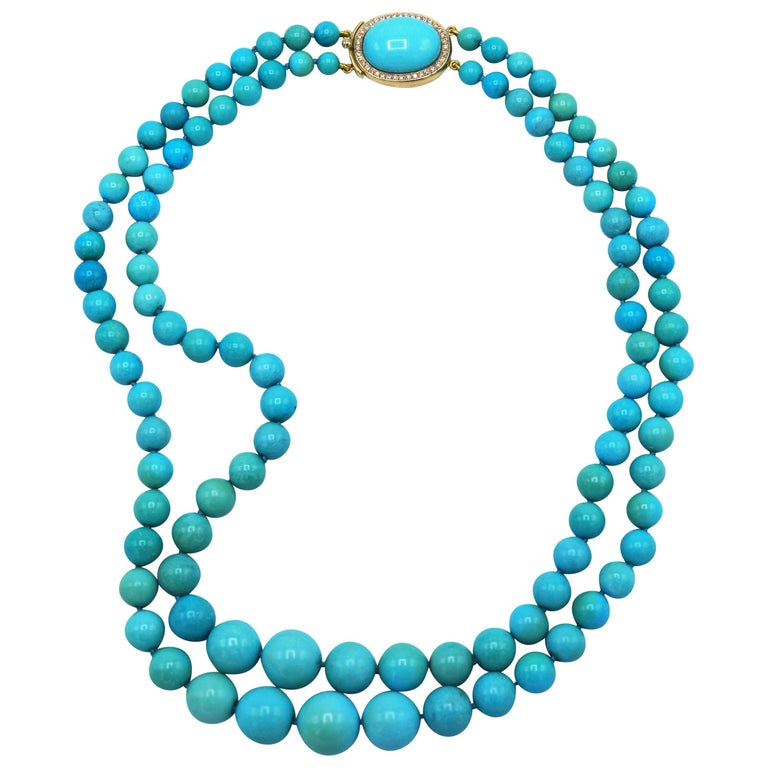 1970s Natural Turquoise Beaded Necklace