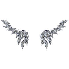 Ferrucci 2.36 Carat Marquise Diamonds Platinum Wing Earrings