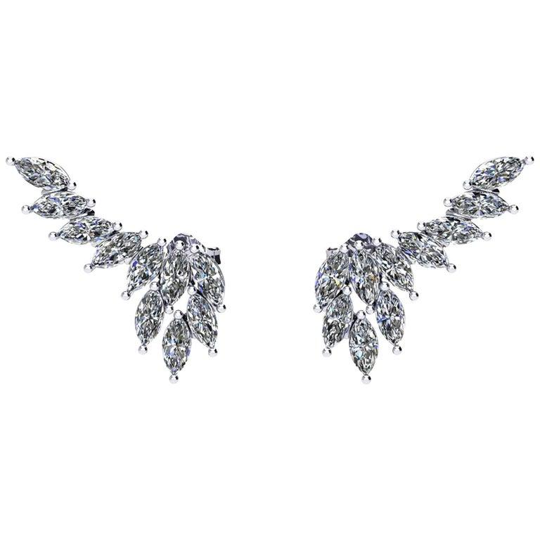 Ferrucci 2.36 Carat Marquise Diamonds Platinum Wing Earrings