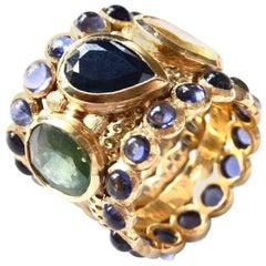 Engagement Eternity Blue, Yellow and Green Sapphire Tanzanite Gold Chennai Ring