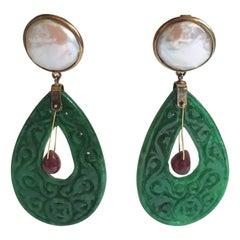 Carved Jade Ruby Drop Mabè Pearls Gold Ventiane Earrings