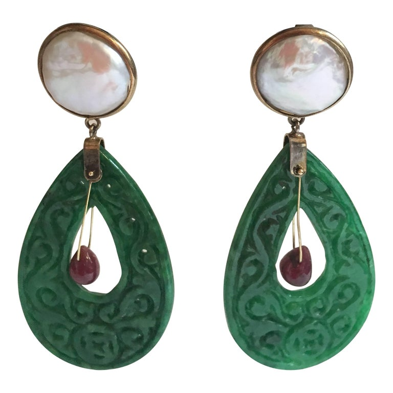 Carved Jade Ruby Drop Mabè Pearls Gold Ventiane Earrings For Sale