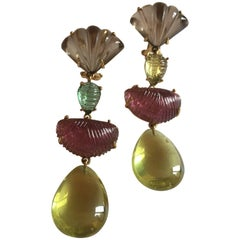 Lahore Earrings Citrine Drop Carved Tourmaline Gold