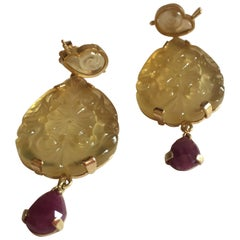 Indian Autumn Earrings Carved Citrine Broil Ruby Drop Gold