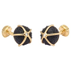 Michael Kannes Gold Iolite and Diamond Sea Urchin Cufflinks