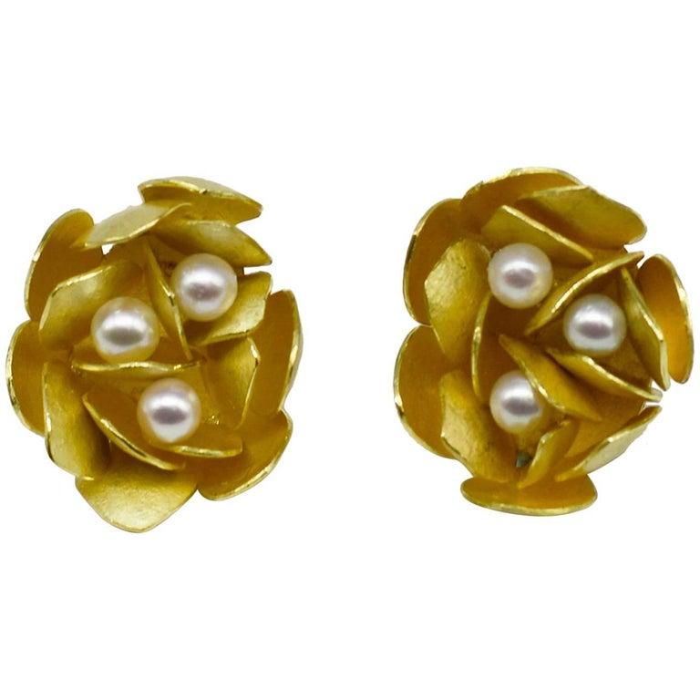 Kayo Saito 18 Karat Gold Akoya Pearl Cluster Stud Earrings