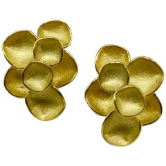 Kayo Saito Square Elements 18 Karat Gold Stud Earrings, Faceted Collection