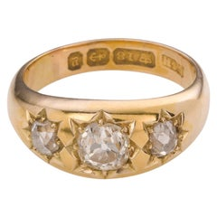 Circa 1890 Antique Diamond Three-Stone Yellow Gold Engagement Ring