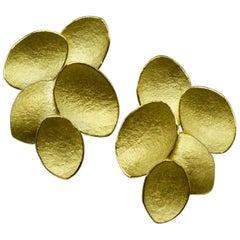 Kayo Saito 18 Karat Gold Petal Stud Earrings