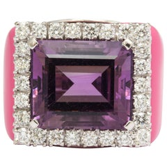 Amethyst Diamond Pink Enamel Gold Ring