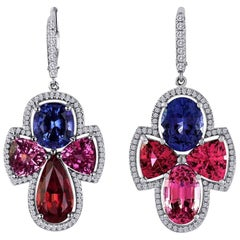 Spectacular Multi-Color Spinel Gold Earrings with Diamonds