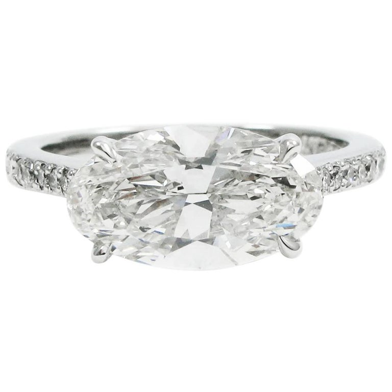 2.28 carat Oval GIA Certified D VS1 East West Diamond Pave Engagement Ring