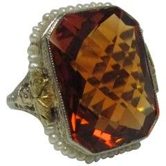 Art Deco Citrine Pearl Filigree Gold Ring