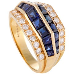 Oscar Heyman Diamond and Sapphire Gold Ring