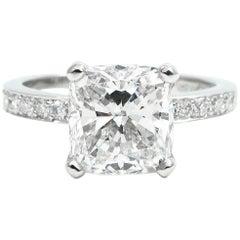GIA Certified 2.72 Carat Cushion Cut Pave Platinum Engagement Ring