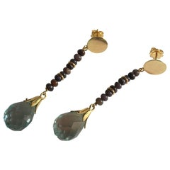 Aquamarine Gold Blue Tears Earring