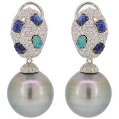Kyanite Blue Opal Tahitian Pearl Drop Earrings