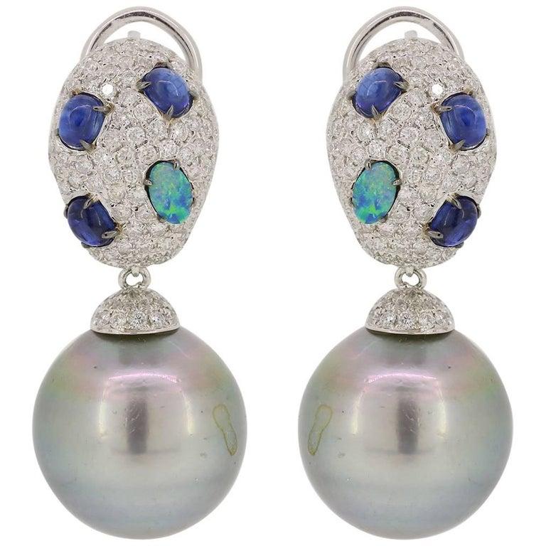 Kyanite Blue Opal Tahitian Pearl Drop Earrings 1
