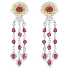 Ruby with White and Yellow Diamond Chandelier Earrings