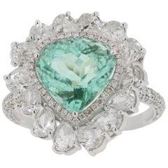 3.48 Carat Paraiba Tourmaline Diamond Cocktail Ring