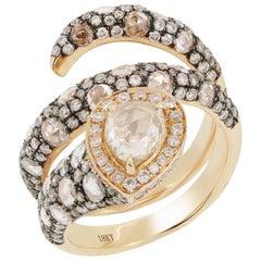 Light Brown Diamond Rose Cut Diamond Wrap Ring