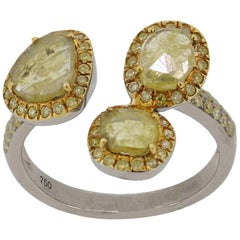 Triple Sliced Yellow Diamond Ring