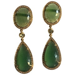 Drop Earrings Diamonds Sapphire Faced Serpentine  Gold