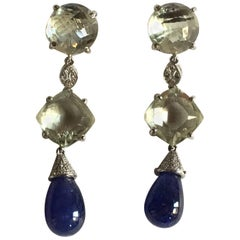 Diamonds Tanzanite Drop Quartz Blue Night Earrings