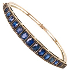 Victorian Sapphire and Silver Hinged Bangle