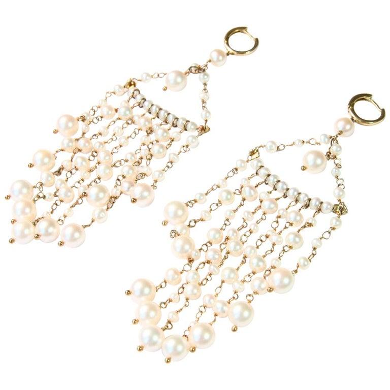 Natural Pearls Gold Chandelier Earrings