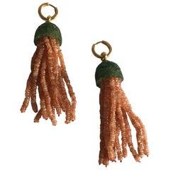 Sunstone Carved Iolite Gold Medusa Earrings