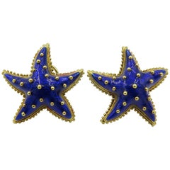 Hidalgo Enamel and Gold Starfish Earrings