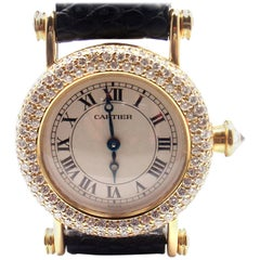 Cartier Ladies Yellow Gold Diamond Diabolo Quartz Wristwatch