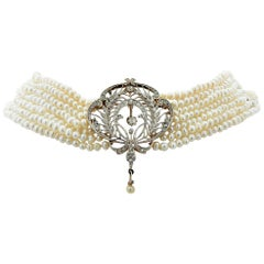 Victorian Brooch and Pearl Necklace