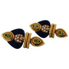 Diamond Tourmaline and Onyx 18 Karat Yellow Gold Earrings